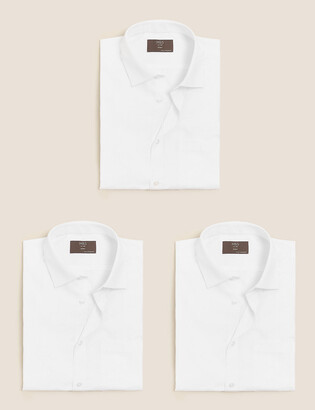 Marks and Spencer 3 Pack Skinny Fit Short Sleeve Shirts