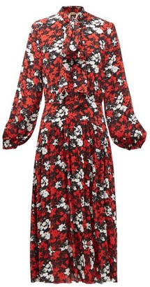 No.21 No. 21 - Pussy-bow Floral-print Crepe Dress - Womens - Black Red