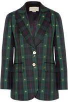 Gucci Embroidered Checked Wool Blazer - Green