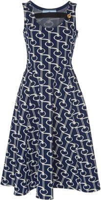 Prada Button-Detailed Cotton-Jacquard Midi Dress