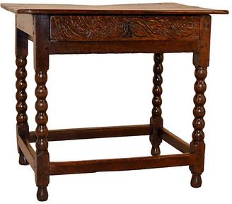 One Kings Lane Vintage 17th-C. English Oak Side Table - Black Sheep Antiques