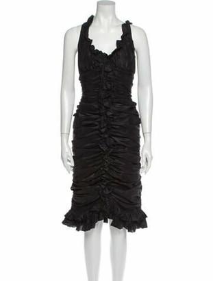 Oscar de la Renta V-Neck Midi Length Dress Black