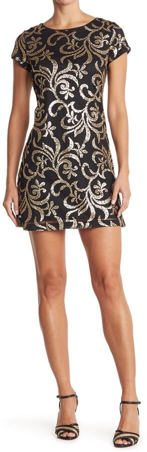 Kensie Sequin Swirl Short Sleeve Mini Dress