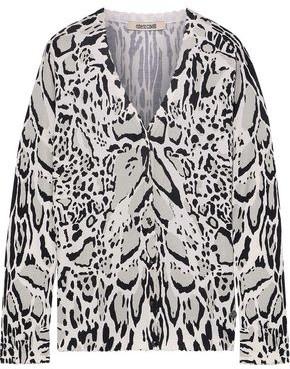 Roberto Cavalli Leopard-print Wool, Cashmere And Silk-blend Cardigan