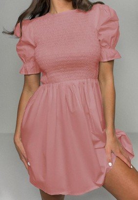 Missguided Shirred Bust Frill Sleeve Dress