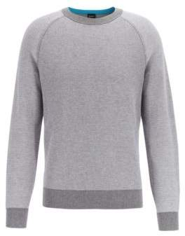 Regular-fit wool-cotton sweater in combination jacquard