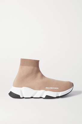 Balenciaga Speed Stretch-knit High-top Sneakers - Beige