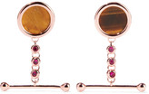 Eddie Borgo Voyager Rose Gold-plated, Tiger's Eye And Crystal Earrings - one size