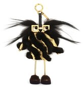 Fendi Faces Hypnoteyes Genuine Fur Bag Charm With Slippers - Metallic