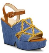 Robert Clergerie Dochett Denim Platform Wedge Sandals