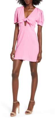 4SI3NNA the Label Cece Tie Neck Linen Blend Minidress