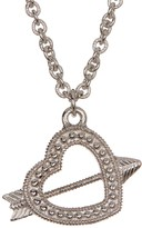 Judith Ripka Sterling Silver Arrow Heart Charm Necklace