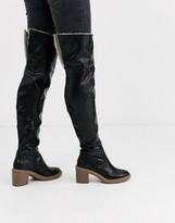 Asos Design DESIGN Kelsie shearling over the knee boots in black