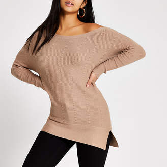 River Island Petite beige cable knit off shoulder jumper