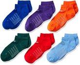 New Balance Big Boy's 6 Pack No Show Atheltic Socks, Green/Blue/Red/Orange (astc1)