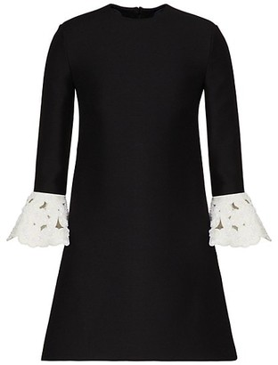 Valentino Embroidered Cuff Wool & Silk Dress
