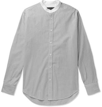 Rag & Bone Grandad-Collar Striped Cotton Shirt