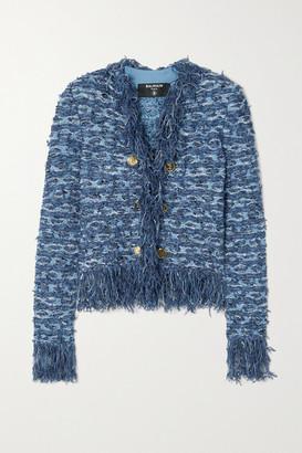 Balmain - Button-embellished Fringed Tweed Blazer - Blue