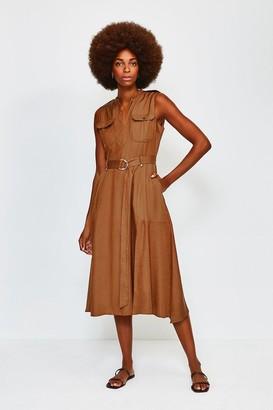 Karen Millen Linen Utility Sleeveless Dress