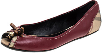 Burberry Red Leather And Beige Canvas Romsey Peep Toe Ballet Flats Size 38