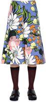 Marni Floral Print Cotton & Linen Drill Skirt