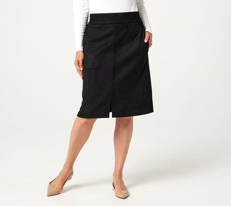 Denim & Co. Faux Suede A-Line Skirt