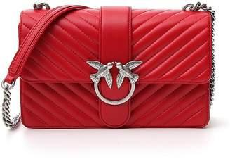 Pinko Mix Love Bird Detail Chain Link Strap Quilted Chain Shoulder Bag