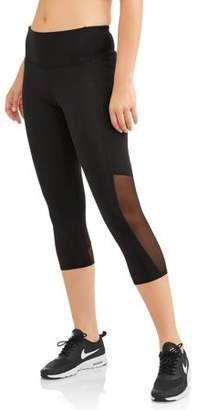Athletic Works Women's Core Active Mesh Insert Performance Capri Legging