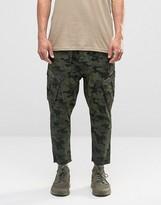 Asos Drop Crotch Cropped Cargo Pants In Camo
