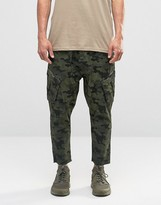 Asos Drop Crotch Cropped Cargo Trousers In Camo