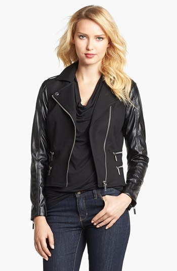 MICHAEL Michael Kors Knit & Faux Leather Moto Jacket (Petite)