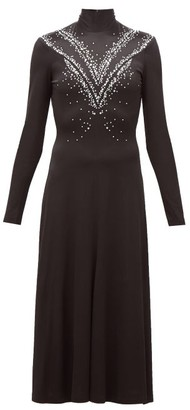 Paco Rabanne Crystal-embellished Jersey Midi Dress - Black