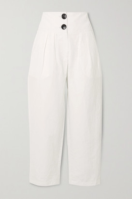 NACKIYÉ Lilypond Pleated Cotton, Linen And Silk-blend Tapered Pants - White