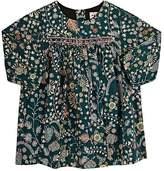 Bonpoint Smocked-Front Floral Cotton Long-Sleeve Dress