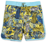 Little Marc Jacobs Surf Shorts w/ Leopard Graphics, Yellow/Blue, Size 4-5