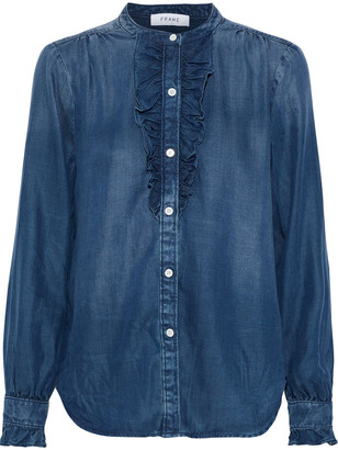 Frame Ruffle-trimmed Tencel-chambray Shirt