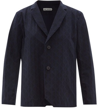Issey Miyake Blink Geometric-pleated Single-breasted Blazer - Womens - Navy