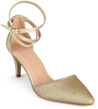 Journee Collection Luela Glitter Ankle Strap Pump