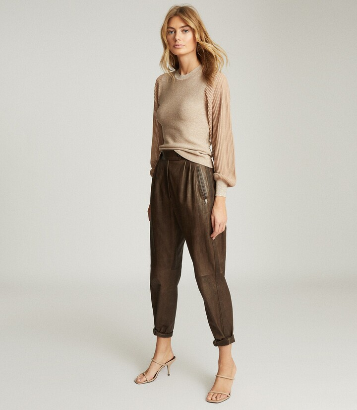 Thumbnail for your product : Reiss Stella - Metallic Semi-sheer Sleeve Top in Neutral