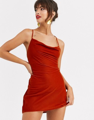 Asos Design DESIGN cami mini slip dress in velvet with lace up back-Brown