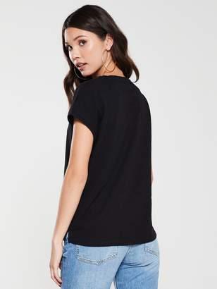 Whistles Minimal Cap Sleeve T-Shirt - Black