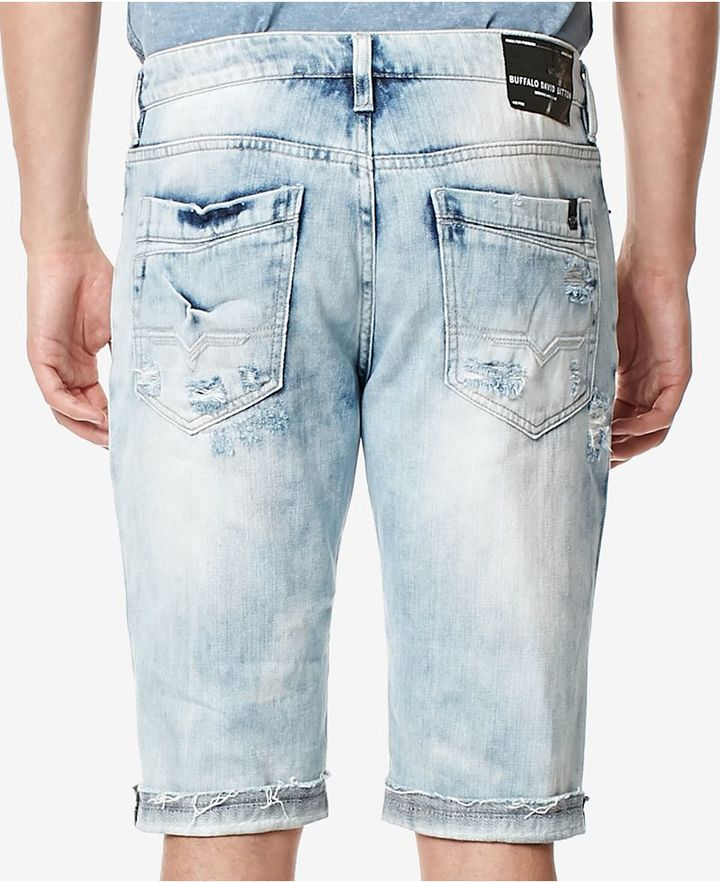 Buffalo David Bitton Men's PARKER-X Distressed Cotton Denim Shorts