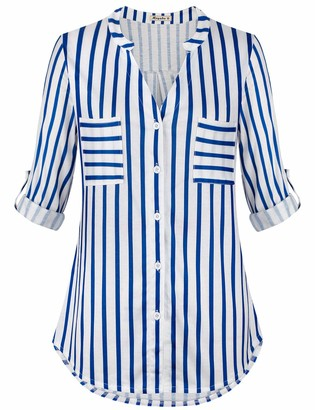 Moyabo Office Blouses for Women Plus Size 3/4 Sleeve T-Shirt Button Down V Neck Office Tunic Blouse Royal Blue Stripe Small