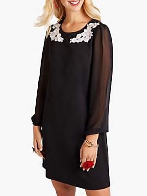 Yumi Floral Sheer Flute Sleeve Dress, Black