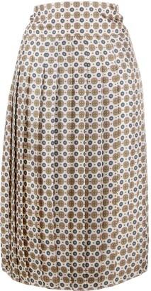 Tory Burch Pleated Monogram Print Skirt