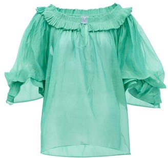Thierry Colson Roussia Cotton-blend Blouse - Green