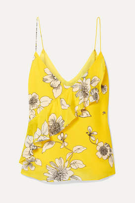 Alice + Olivia Lavonia Ruffled Floral-print Silk Crepe De Chine Camisole - Yellow
