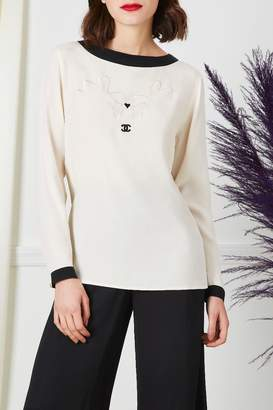 Chanel White Embroidered 'CC' Heart Blouse