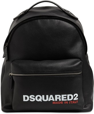 DSQUARED2 Logo Print Leather Backpack