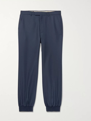 Gucci Tapered Drill Trousers - Men - Blue